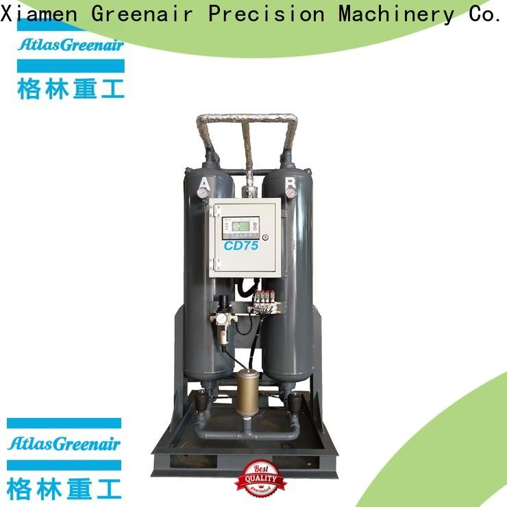 Atlas Greenair Screw Air Compressor desiccant air dryer with an air compressed actuated valve for a high precision operation