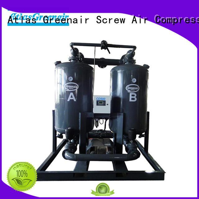 Atlas Greenair Screw Air Compressor top desiccant dryer with a special silencer for a high precision operation