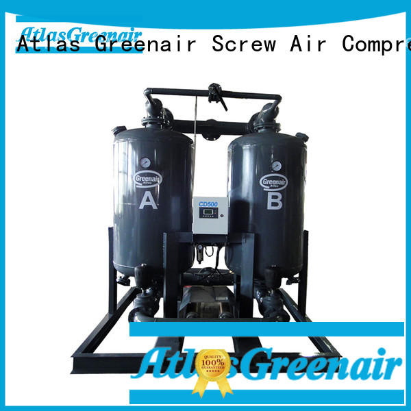 Atlas Greenair Screw Air Compressor twin tower desiccant air dryer with an air compressed actuated valve for a high precision operation